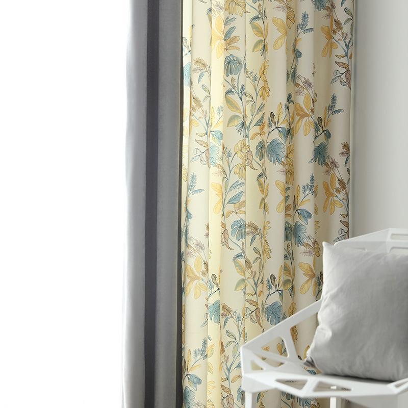 Vorhangvorhänge Einfache Vorhänge zum Wohnzimmer mit Esszimmer Schlafzimmer Modernes ländliches Stil Nähen Bedruckte Tüll Fertigprodukt Anpassung