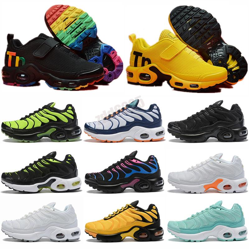 2021 tn plus running shoes Kids black White Volt Glow Hyper Pastel blue Oreo women Breathable sneaker trainer outdoor sports