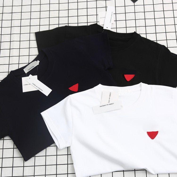 2021 Verão Primavera Designer Camisetas Homens de Luxo Mulheres Tops HeartsHape Bordado Homem Mulher Roupa de Manga Curta Tees Algodão Roupas confortáveis