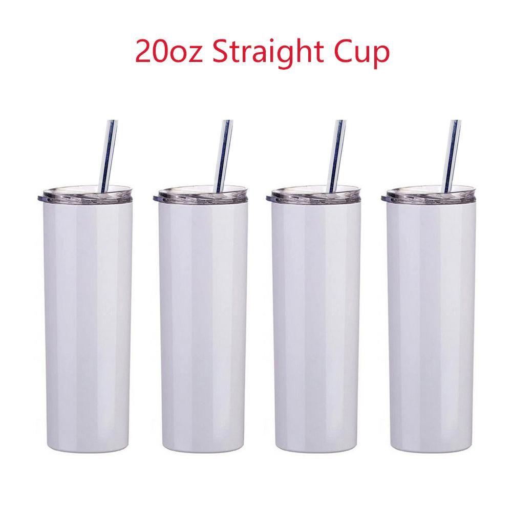 20oz Sublimation Mok Straight Tumblers Blanks Wit Roestvrijstalen vacuüm geïsoleerde Slanke DIY 20 OZ Cup Auto Koffie Bekers