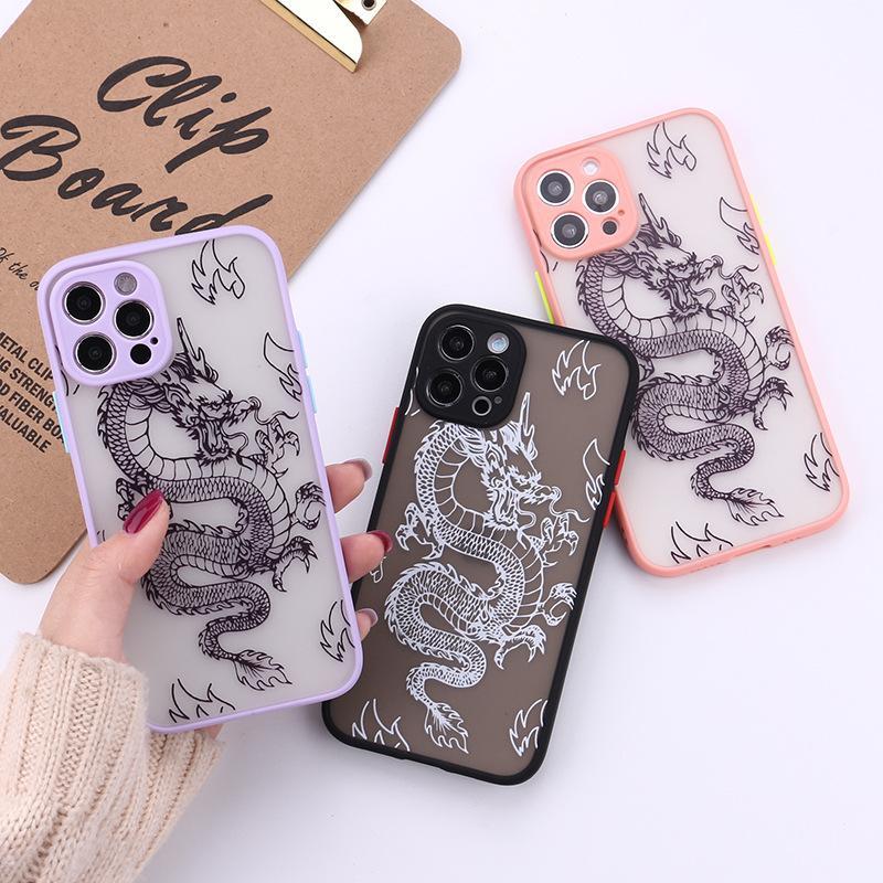 Chinesische Stil Drache Muster Telefon Hüllen für iPhone 12 11 PRO MAX XS XR 7 8 PLUS Skin fühlen Hard PC Back Cover