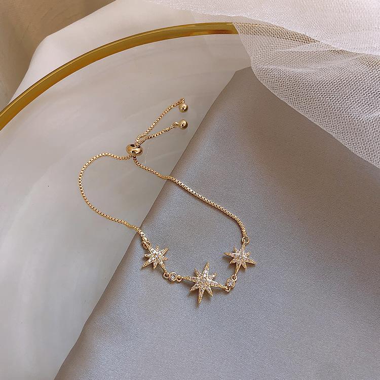 Micro Ajustable Inlaid Diamond Lucky Simple Oche Star Fashion Versatile Coreano Pulsera Joyería