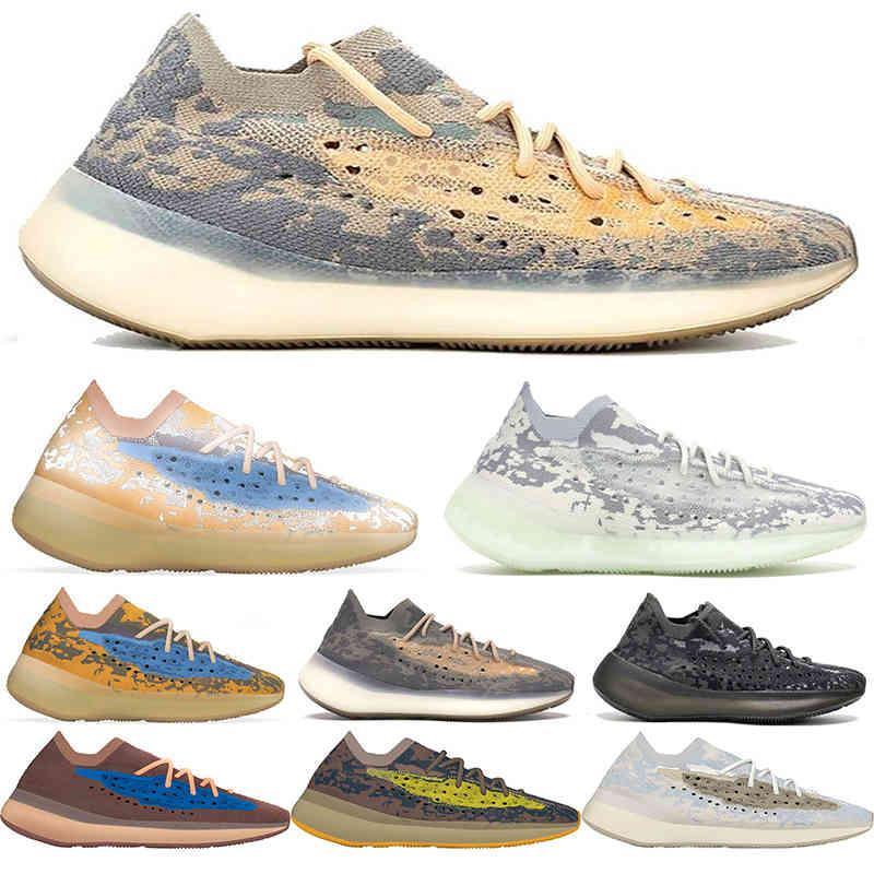 Kanye 3M Reflektierende Laufschuhe 380 Blaue Hafer für Männer Frauen Jogging Walking Utility Black Bone White Sneakers des Chaussures 36-46