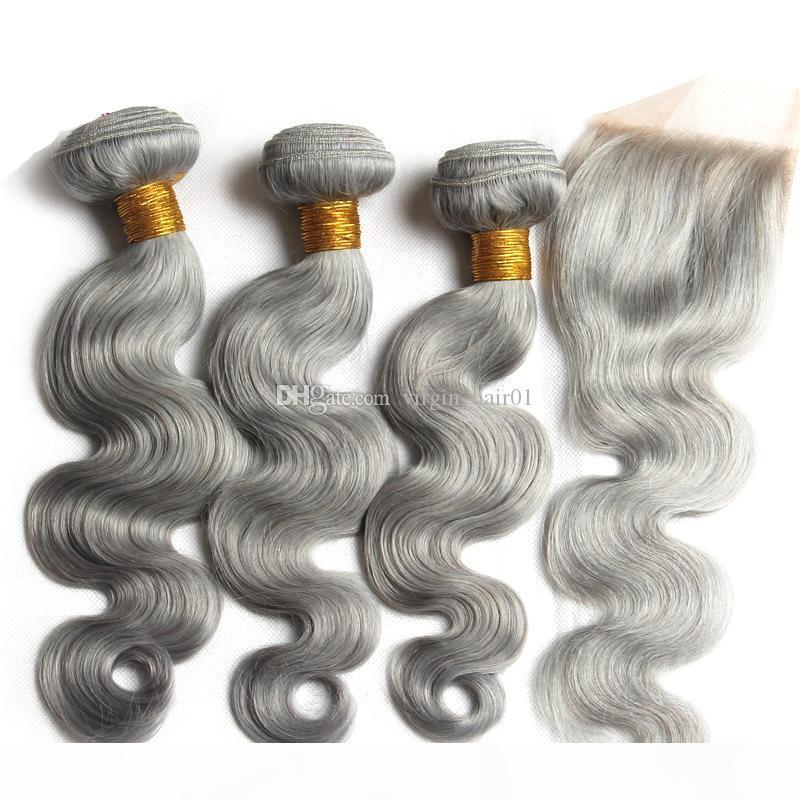 Grey Hair With Closure Virgin Human Brazilian Hair Body Wave With Lace Closure Bleached Knots With Baby Hair Pure Color #Grey Bundles