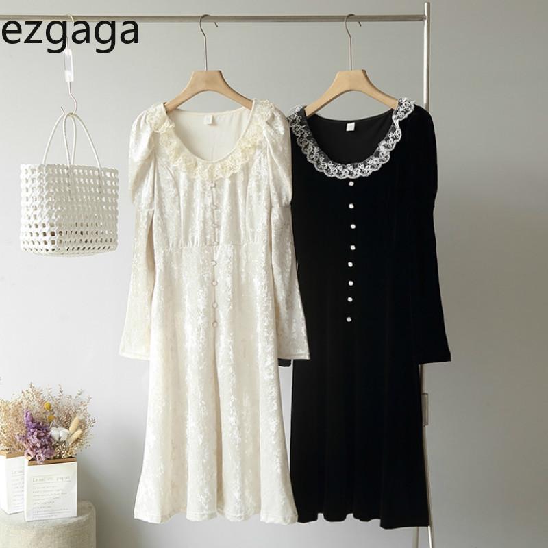 Ezgaga 여성 드레스 O 넥 레이스 패치 워크 긴 퍼프 슬리브 벨벳 한국어 패션 우아한 달콤한 소녀 버튼 Vestidos 캐주얼 드레스