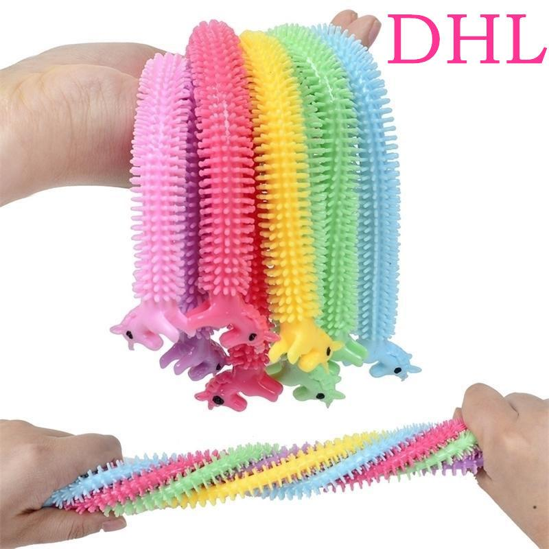DHL Rainbow fidget toys Sensory Toy Noodle Rope TPR Stress Reliever Unicorn Malala Le Decompression Pull Ropes Anxiety Relief For Kids Funny