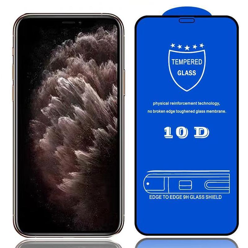 10D Szkło Hartowane Screen Ochraniacz Real 9H Dowód Pełny pokrycie pokrycia kleju Zakrzywiony Film dla iPhone 13 Pro Max 12 mini 11 XS XR X 8 7 6 6S PLUS SE