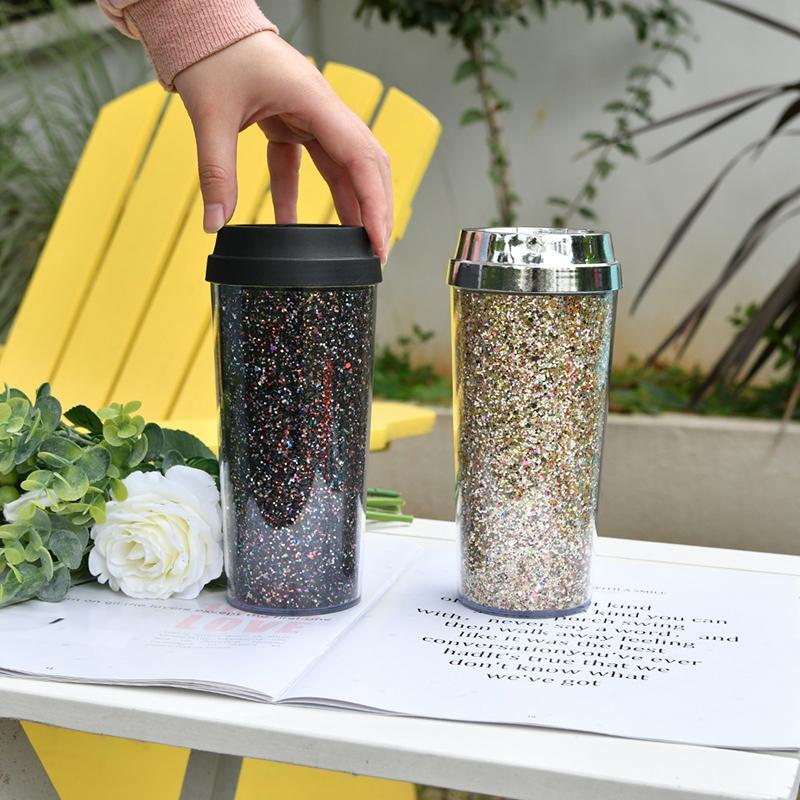 16oz glinsterende Gliter Mokken Cups Draagbare 450 ml Tapered Water Cups Dikke Plastic Herbruikbare Eco-vriendelijke Drinkware Tumblers FY4680