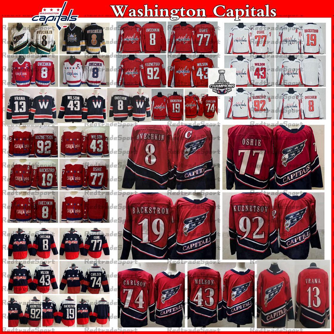 2021 Reverse Retro Washington Capitals 8 Alex Ovechkin TJ Oshie Hockey Jersey Evgeny Kuznetsov Backstrom Tom Wilson John Carlson Jakub Vrana Champions Shirt