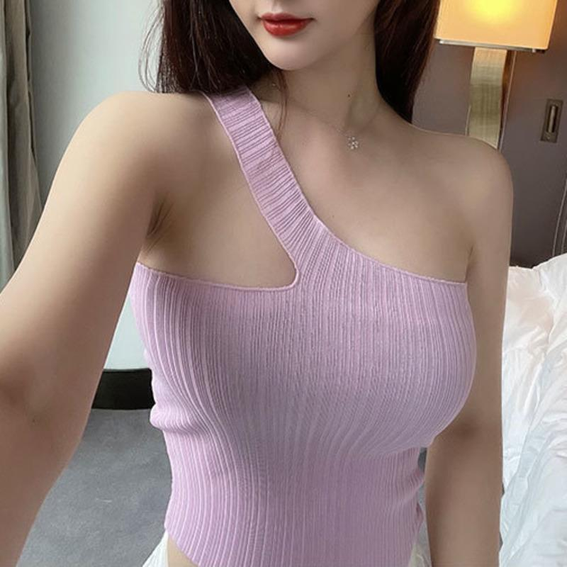 Women's Tanks & Camis Korean Version Slim Irregular Oblique Shoulder Fold Strip Knitted Tube Top Sling Vest One Knit Tank 0A3O