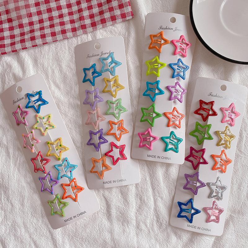 38mm Star Metal Snap Capelli Clip Clip carino per bambini clip per capelli per ragazze Accessori per bambini Big Size Candy Color Tairspins Barrettes 894 V2