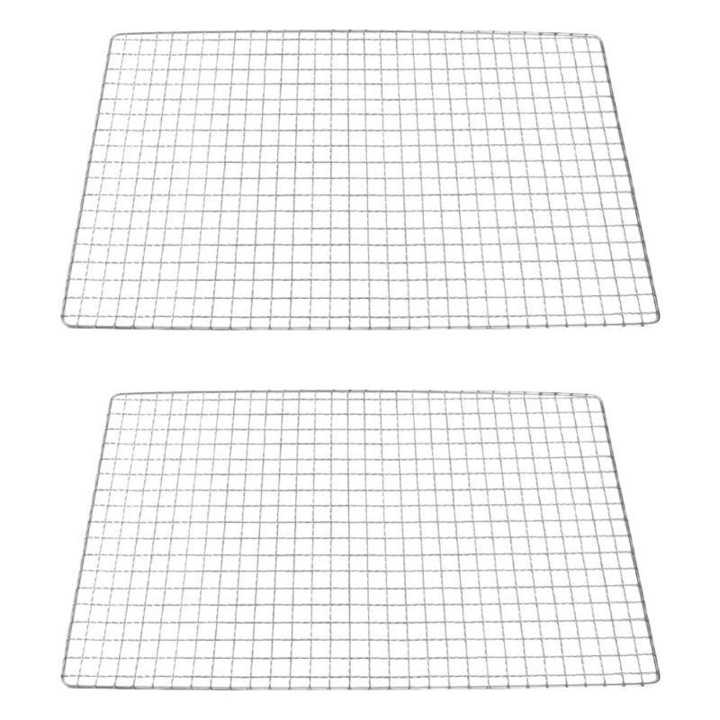 Ferramentas Acessórios 2 Pc Barbecue Wire Malha Multi-Function Grill Cooking Grids BBQ Nets (prata)