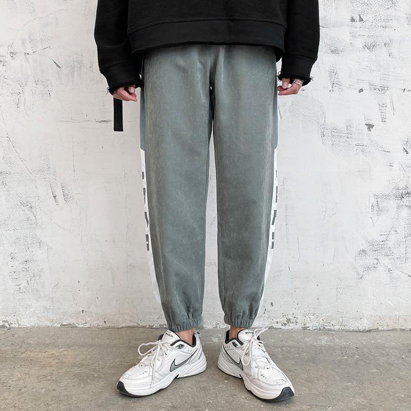 망 겨울 바지 2021 패션 발목 길이 스웨트 팬츠 캐주얼 느슨한 양털 솔리드 컬러 스트리트 착용 Jogger 남성용