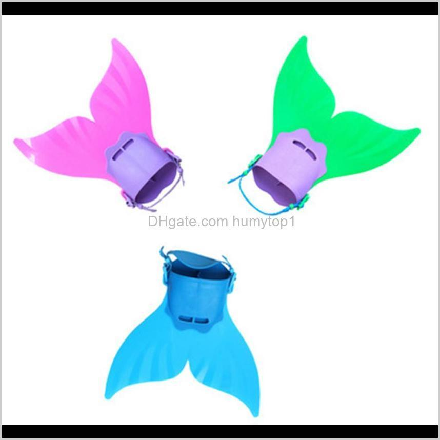 4040Cm Adjustable Mermaid Fin Diving Monofin Swimming Foot Per Fish Tail Training For Kid Children Christmas Gifts 2Mvp5 Fins Gloves T0Thi