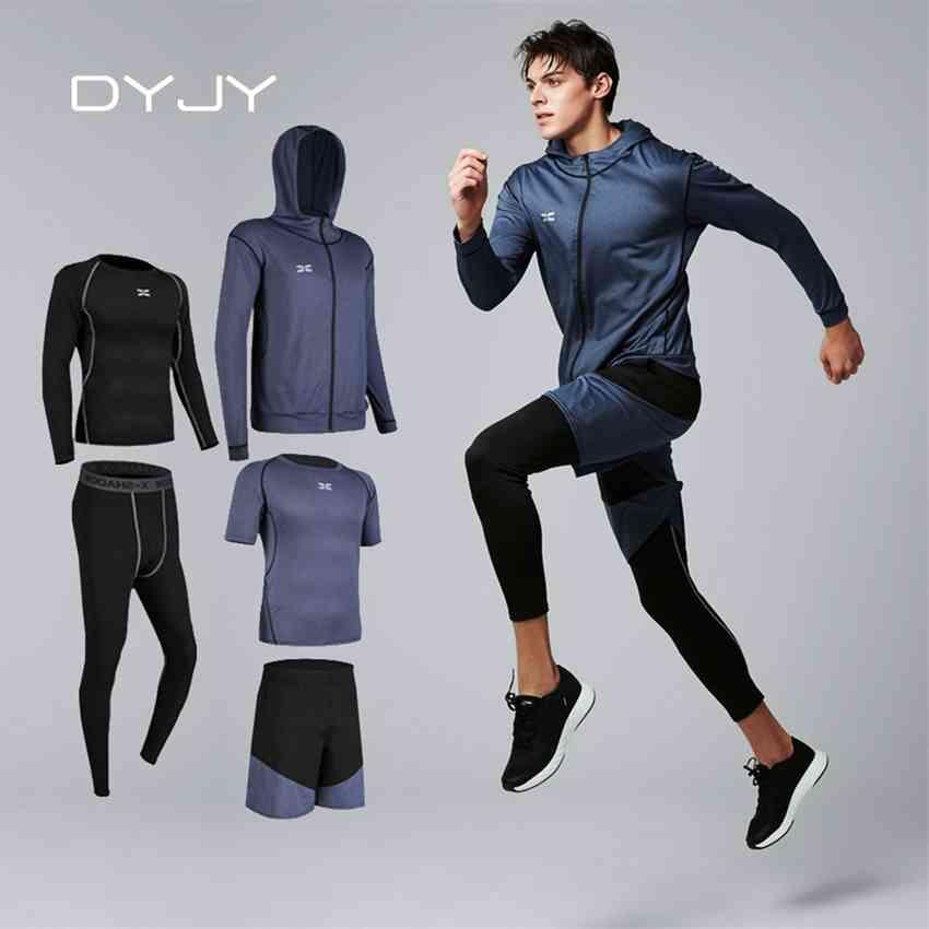 FACTORY41G5MEN DYJY 5 PCS / SET HOMBROS DE HOMBRES DE HOMBRES GYM ROPA DE ROPACIONES DEPRESIONES Ropa de aptitud Ropa de fitness Correr Trajes de jogging