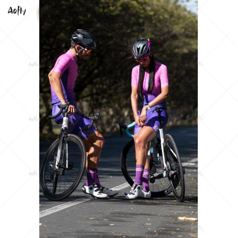 Racing Sets KafiCouple Bike Cycling Suit Tights Triathlon Mountain Cilismo Running And Pink Cushion Lycra Slim Purple Skinsuit