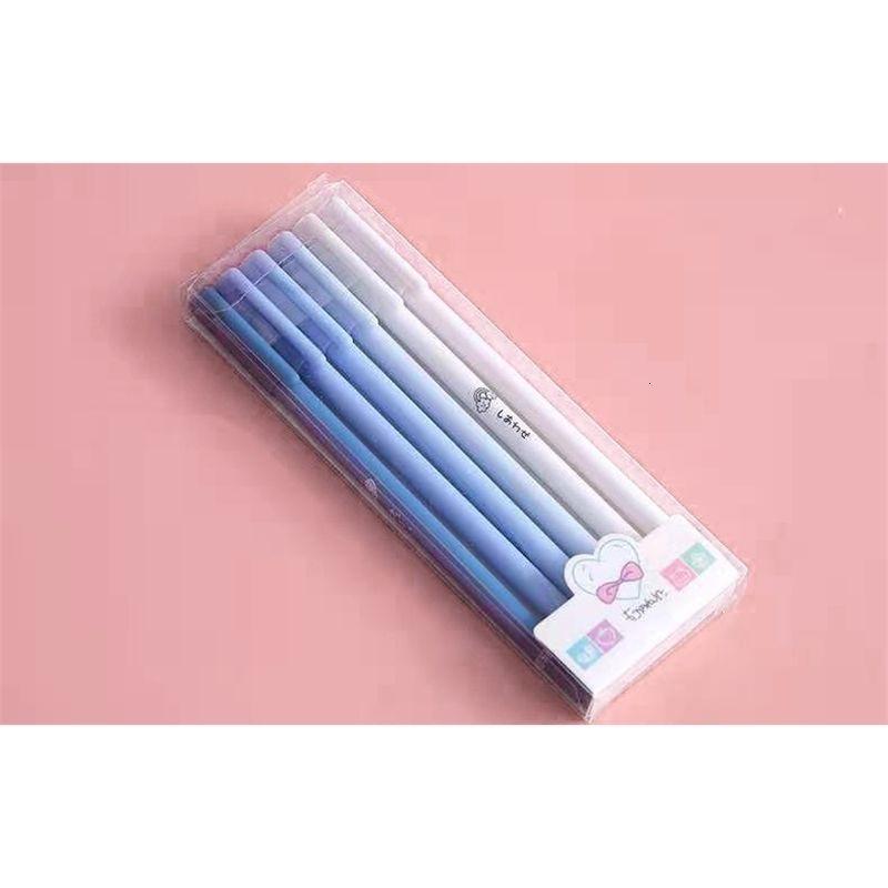 6-pack Black Gel Pen Morandi's Set, a Box of 6 Carbon Pens for Students' Examination Stationery
