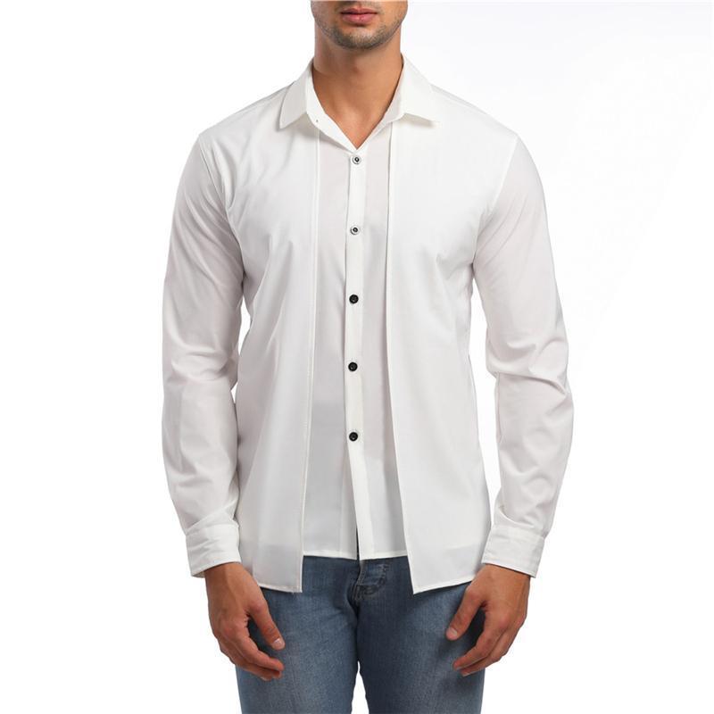 남성 셔츠 캐주얼 가짜 2 조각 비즈니스 드레스 봄과 가을 긴 소매 탑 셔츠