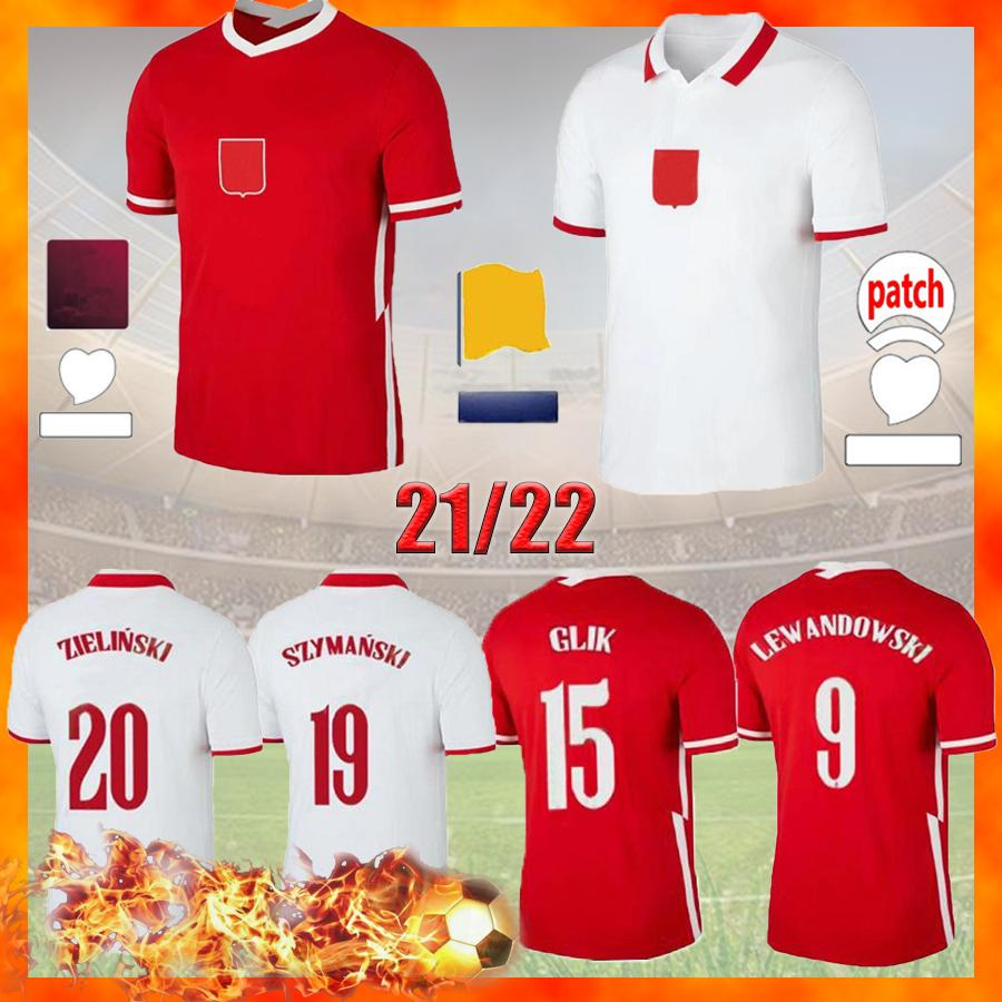 Polska Lewandowski 2021 كرة القدم الفانيلة البيضاء المنزل الأحمر قمصان Zielinski Piatek Milik Piszczek موحدة 20 21