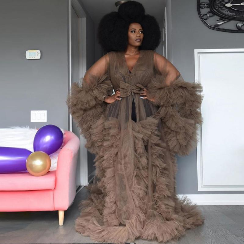 Casual Dresses Pregnancy Ruffles Tiered Tulle Dress Women Maternity Wedding Robe Bathrobe Sleepwear Illusion Bridal Nightdress Plus Size