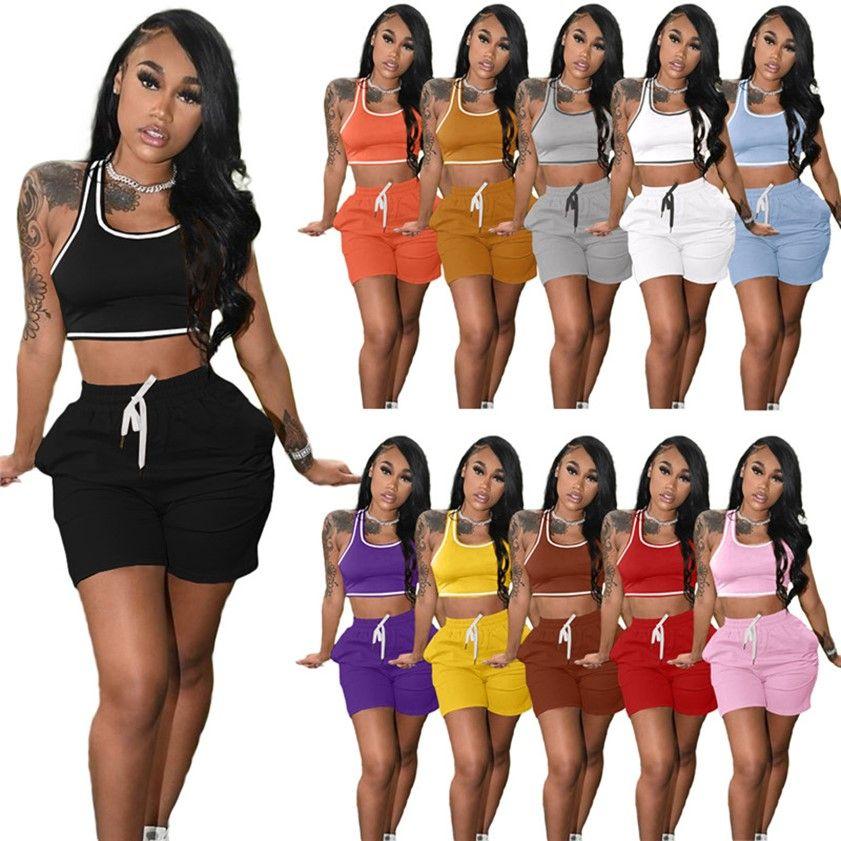 Женщины Летние трексуиты сплошной цвет одежды 2 шт. Joggers Set Tain Top Mini Botts Повседневная Стерев на облигатель Yoga Обычный тренажерный зал Костюм для спортивной одежды S-2XL 11COLOR 4893