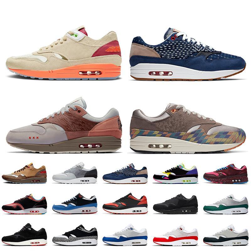 Nike Air Max 1 STOCK X 2021 New Fashion Denham 1 Lemonade Amsterdam N7 Taupe Haze Running Shoes 런던 Evergreen Aura Magma Orange Womens Mens Trainers Sneakers