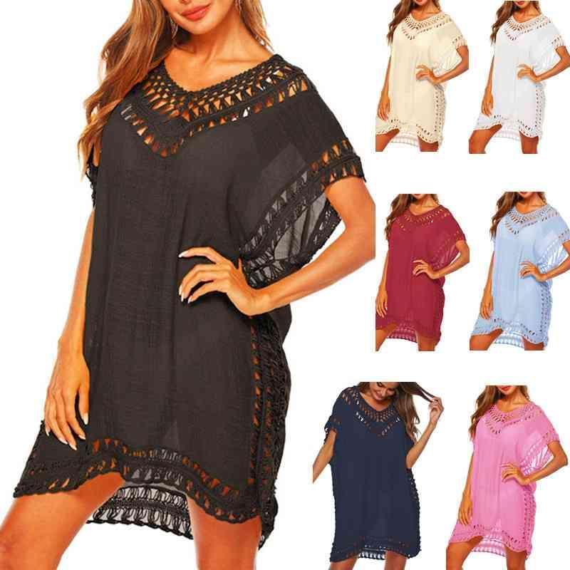 Túnica Vestido de playa Blanco Cubierta para mujer Black Sarong Pareo Pareos y vestidos Tunica Playa Mujer Cuadro de traje de baño 210319