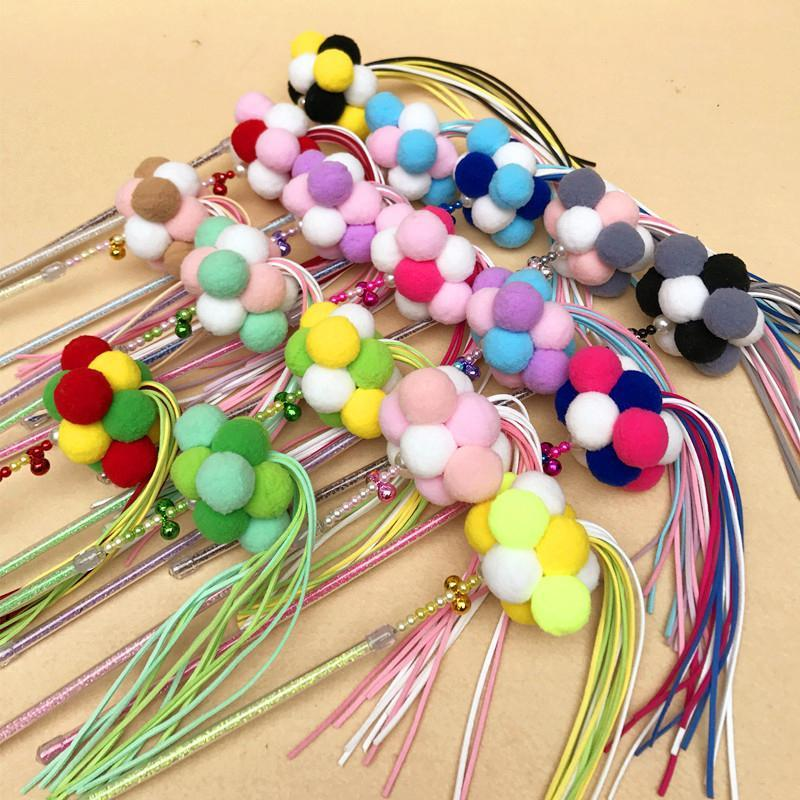 Handmade three-color funny cat stick pet cats toy supplies bell hair ball tassel 17 colors DWF10491