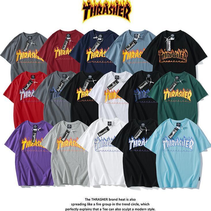 힙합 짧은 소매 thrasher 티셔츠 망 디자이너 후드 티 스웨터 thrasher 불꽃 후드 히드 프린트 벨벳 티셔츠 의류