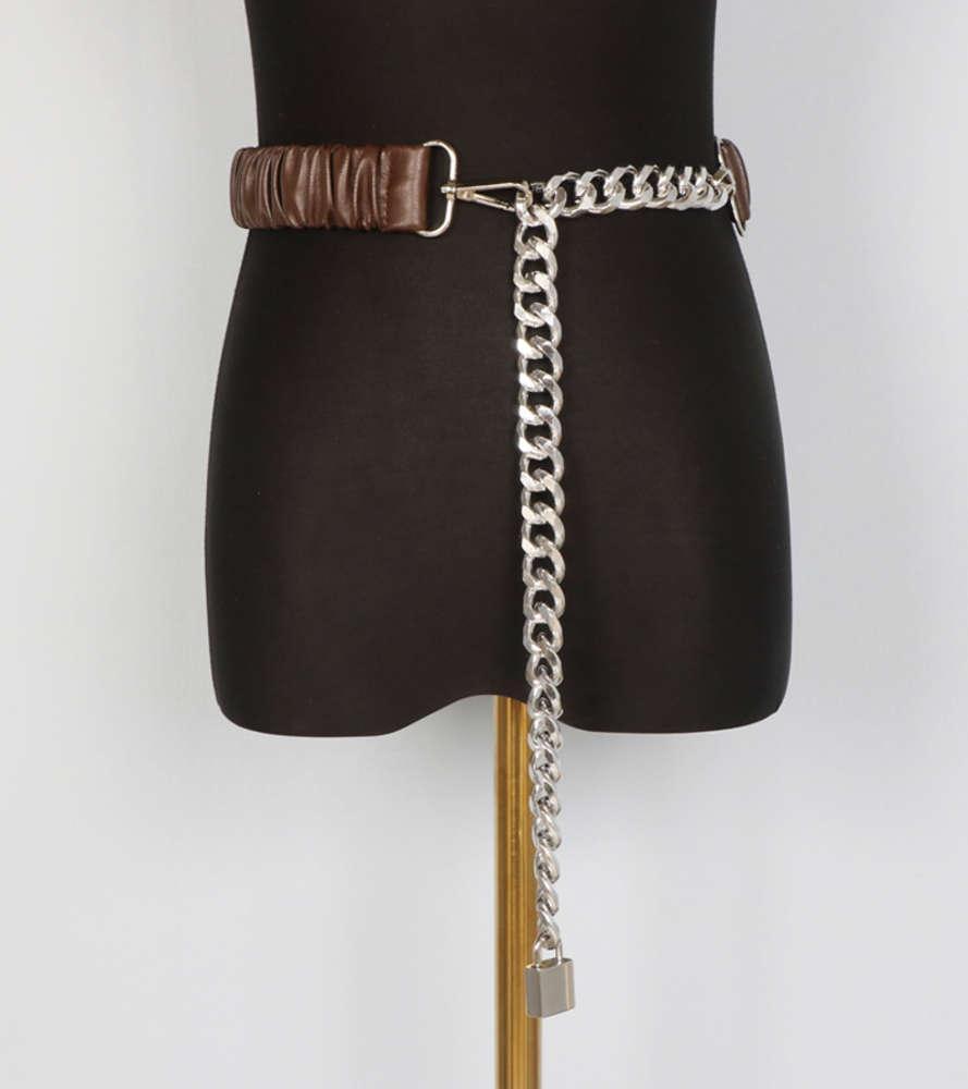e Autunno Winter Fashion Versatile Ins Argento Spessore Catena Blocco Splicing Piegatura Elastico Cintura in pelle cintura in pelle