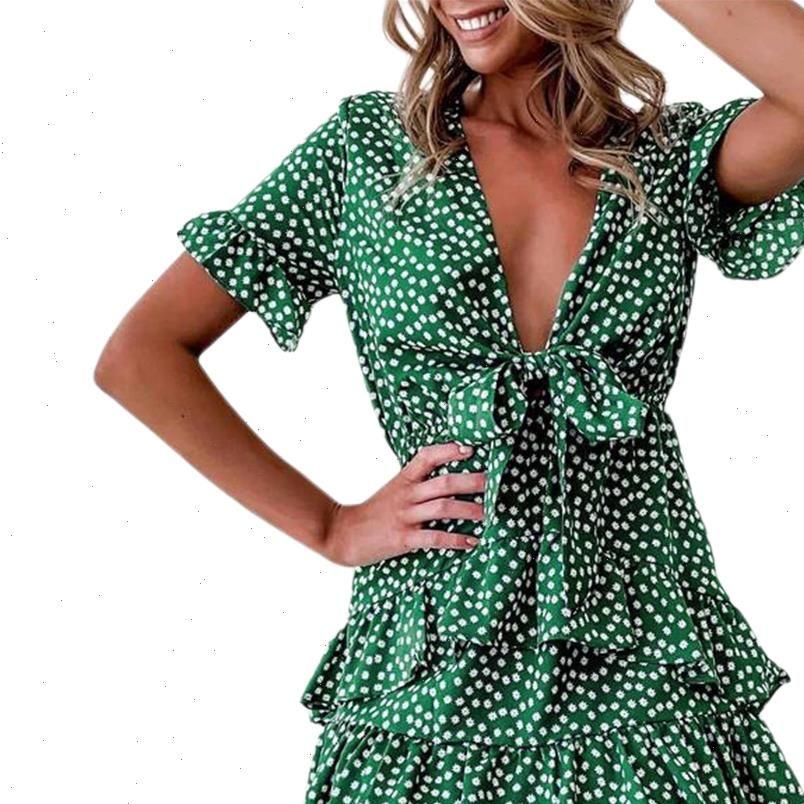 Polka Dot Mini estate Boho Womens Dress Ruffled Front Lace Up Knot V Neck Beach Sundress Elegante Lady A Linea
