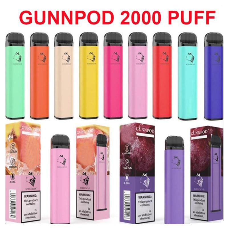 Gunnpod 2000 sbuffi monouso Penna vape e sigaretta DEIVCE con 1250 mAh 18350 Batteria 8ml Pod Gunpod VAPorizer Kit Starter VS Elf