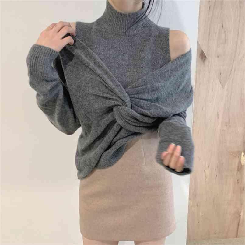 오버지 여성 스웨터 2 조각 세트 womens elegnat 니트 정장 풀오버 여성 뜨개질 스웨터 긴 소매 겉옷 210423
