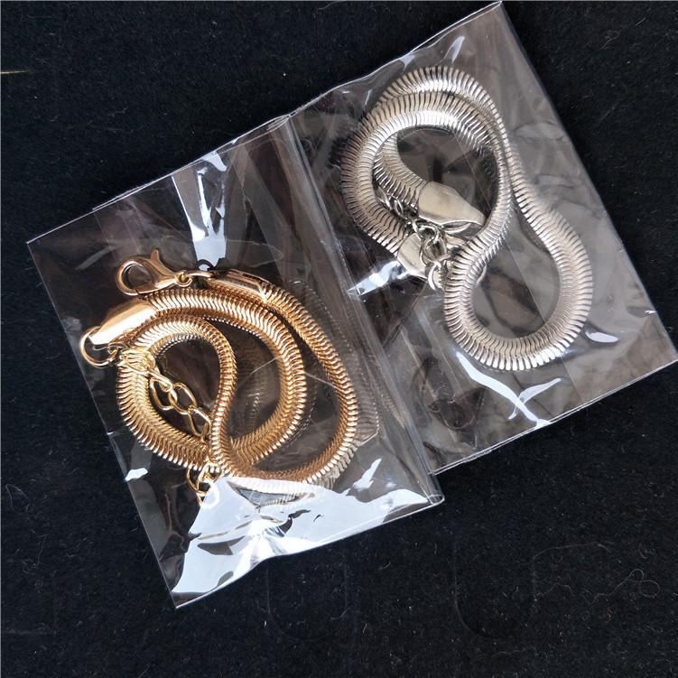 Mulheres Snake Chain Bones Anklet Jóias Banhado Gold Lady Moda Escala de Peixes