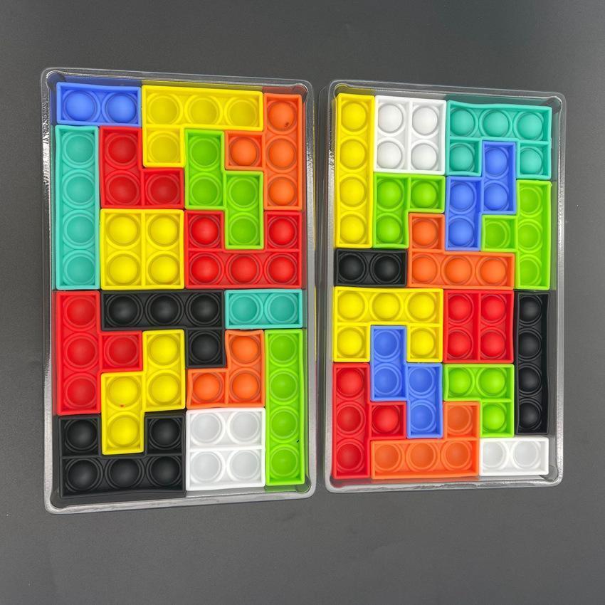 16шт / комплект строительный набор с коробкой головоломки пузырь FIDGET игрушка образовательный силиконовый стресс отношения сенсорные игрушки вечеринка HAHA8258