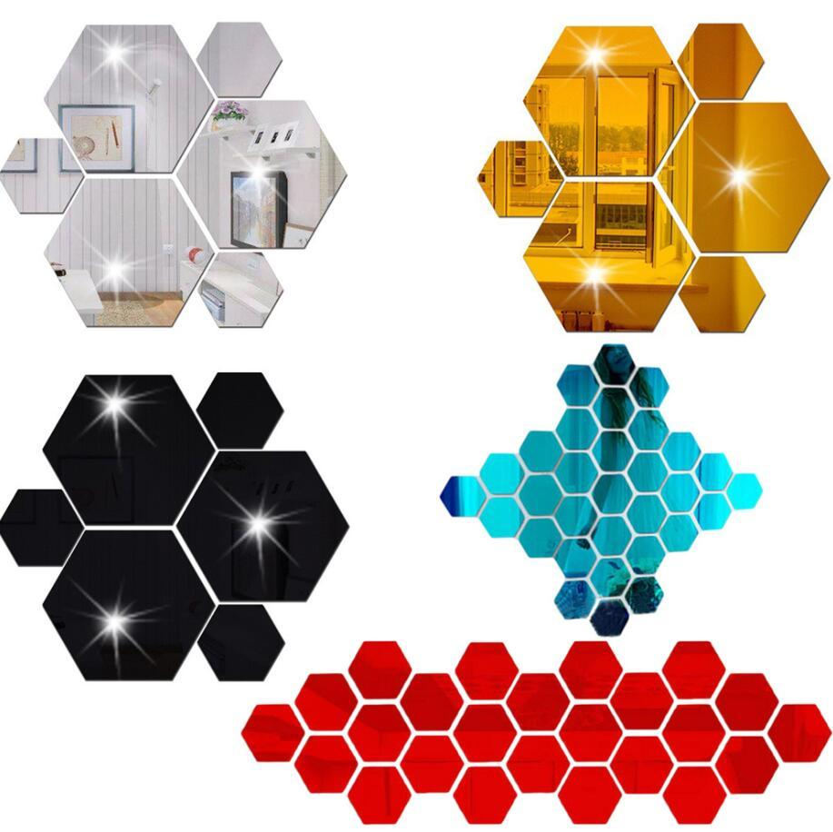12pcs / set 3D esagonale specchio autoadesivo decorazione della parete acrilico decorazione della casa accessori per soggiorno arte wallpaper adesivi