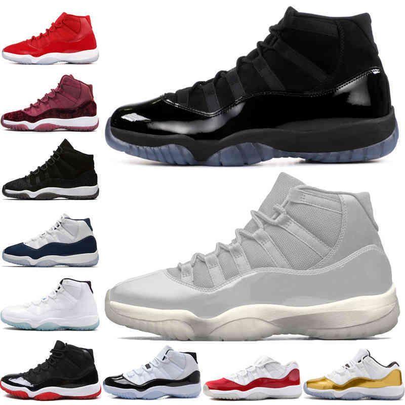 11 11 S kap ve elbisesi balo gece erkek basketbol ayakkabı platin tonu spor salonu kırmızı yetiştirilmiş PRM Heiress Barons Concord Midnight Navy Erkek Spor Sneakers