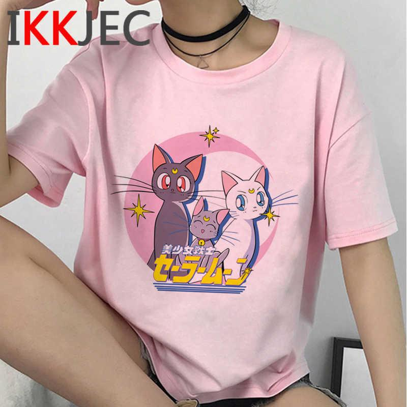 Sailor Moon T Shirt Femminile Stampa Coppia Harajuku Kawaii Bianco T Shirt Vestiti Summer Top Bianco T Shirt Coppia Vestiti Y0606