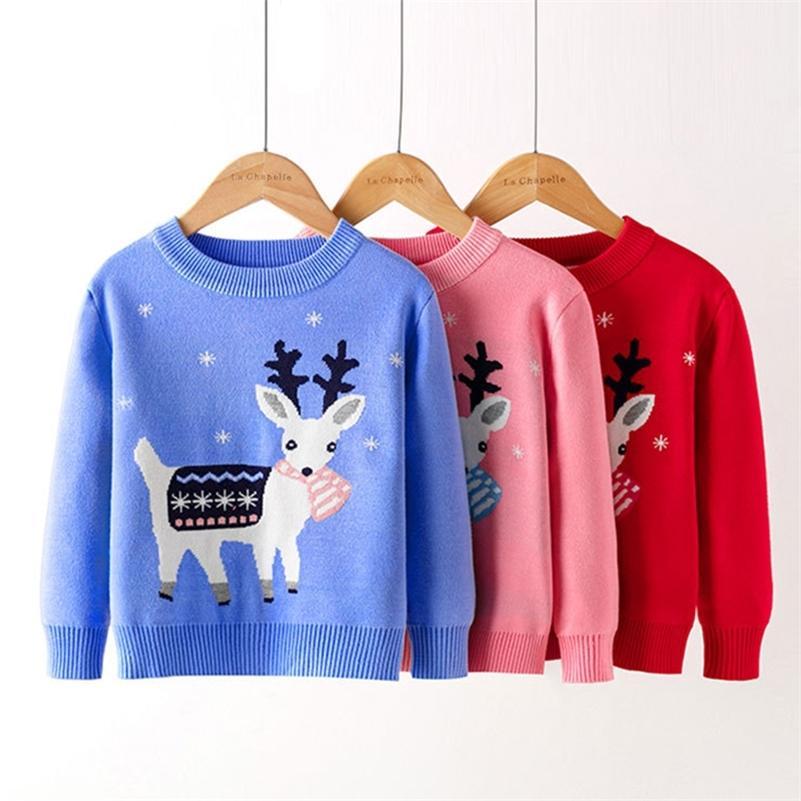Natale neonate autunno inverno bambini knitwear boys pullover cervi cartoni animati maglione lavorato a maglia abbigliamento per bambini 210417