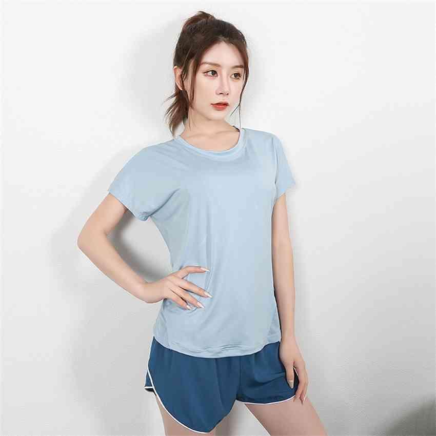 Fábricai2x2020 yoga nueva primavera y deportes verano camiseta de manga corta neta de mujer neta roja abierta de espalda rápida de secado rápido loo