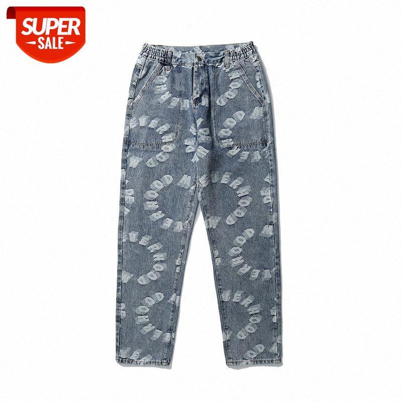 Sonbahar ve kış baskı streç olmayan mavi sıradan düz pamuklu pantolon yıkanmış rahat orta bel erkek pantolon trend # ui4k