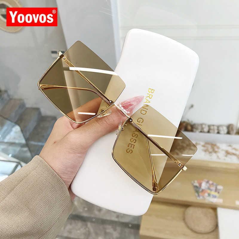 designer Sunglasses Yoovos 2021 Luxury For Women Glasses Retro Brand Square Metal Half Frame Eyewear