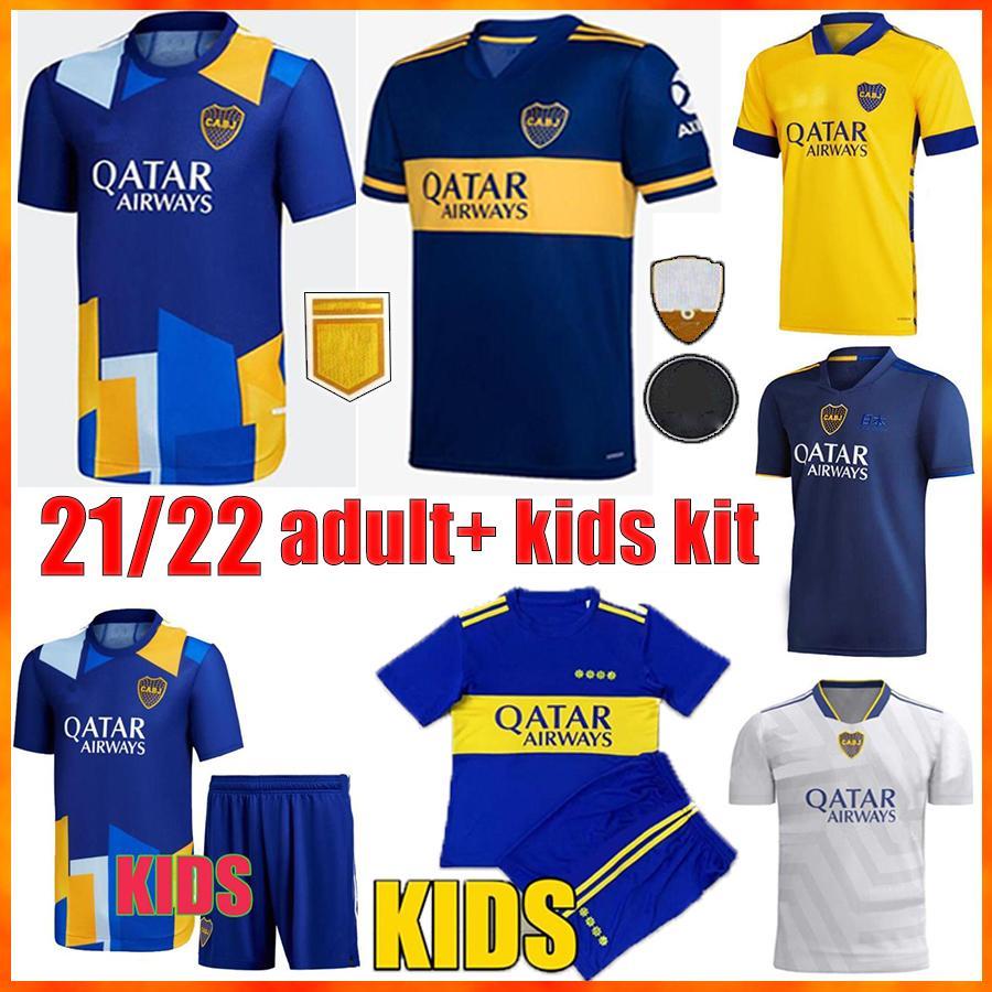 21/22 Camiseta Boca Juniors Soccer Jerseys Cabj Football Shirt Men + Kids Kit2021 2022 Cristian Pavon Tevez Carlitos Maradona de Rossi Almendra Salvio Abila Origs