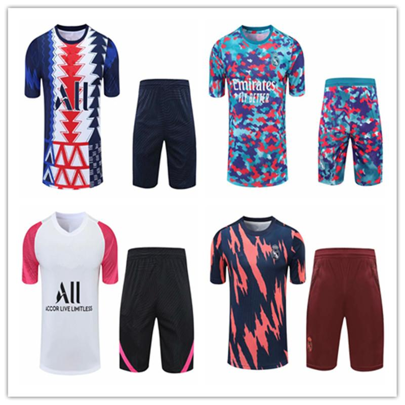 Männer Erwachsene 21 22 Fußballtrainings Trainingsanzug Fußballanzug Kurzarm Shorts Kits 2021 2022 Real Madrid Jersey Tracksuits Sets Jogging