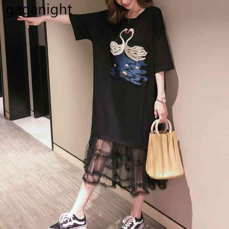 Mulher de verão manga curta preto midi gauzecotton camiseta vestido plus size bordado senhoras t-shirt vestidos de festa robe 210426