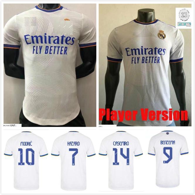 Versão do jogador Real Madrid Futebol Jerseys 21 22 Benzema Hazard Sergio Ramos Casemiro Asensio Vinicus Jr 2021 2022 Camiseta Camisas de futebol de manga comprida
