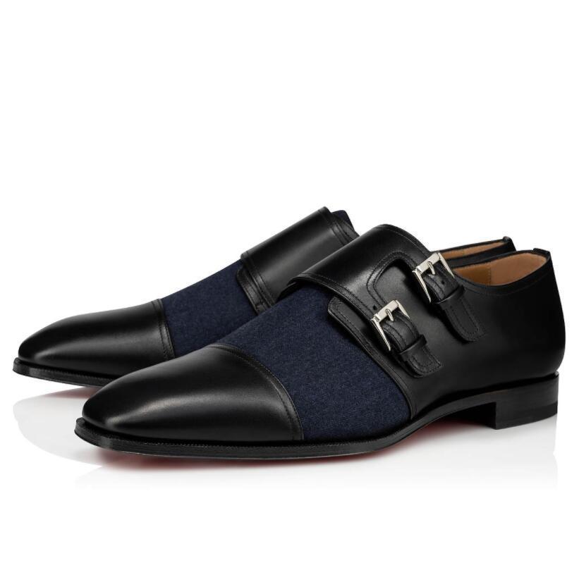 Marca Gentleman Dandelion Vermelho Sapatos de Luxo Partido Casamento Mocassins Designer Black Genuine Couro Vestido para Mens Slip em Fivelas Flats