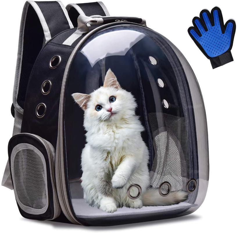 Gato Carrier Mochila transpirable Transparente Puppy Perrito Bolsa Bolsa Espacio Transporte de PET PETH COMPRANTE CON LOS PLUCHOS DE GUANTES GRATUITOS, CASAS DE CRAVES