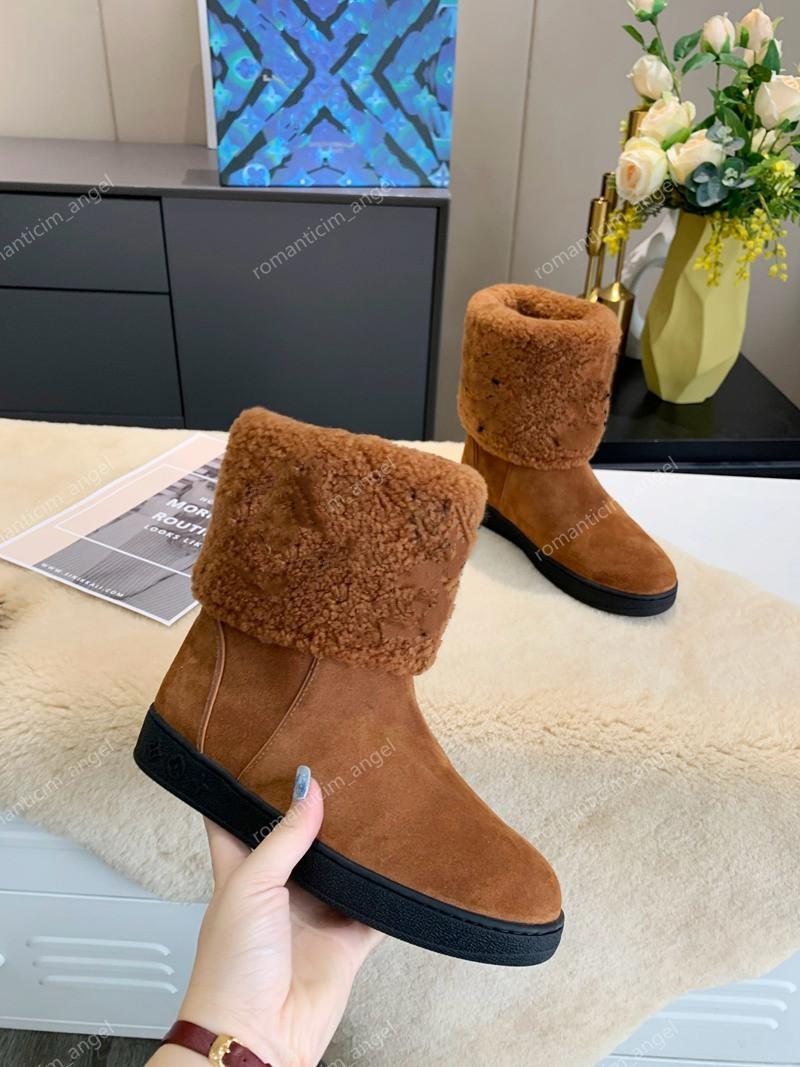 2021 design schnee stiefel frauen luxe mode weiche leder flache boot mädchen casual winter brauner schuh mit pelz halbe stiefel schwarz size 35-42