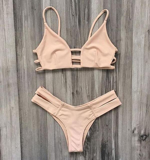 Costume da bagno Swimwear Solid Bandage Beige Split Swimsuit